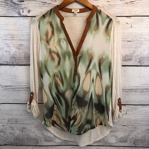 Anthropologie Tiny Womens Roll Tab Sleeve Top XS